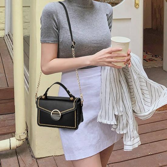 Clip Lock Closure Chain Strap Messenger Bag - Black   Image