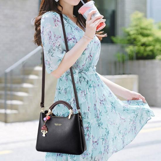 Women Solid Color With Lovely Doll Shoulder Bag - Black |image