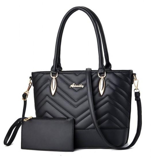 Square Designing Two Piece Casual Handbags Set - Black |image