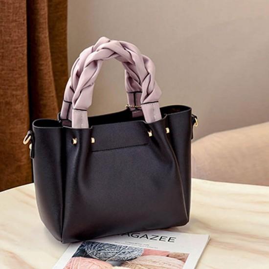 Flap Flamingo Soft Leather Women HandBag - Black |image