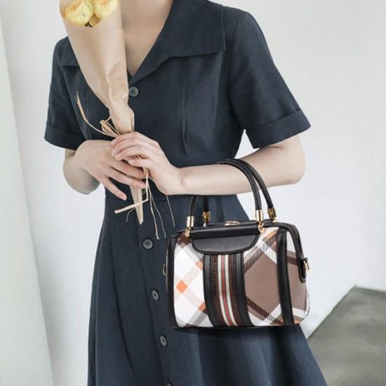 Checkered Contrast Straps Zipper Shoulder Bag - Black  image