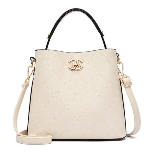 Drawstring Textured Bucket Zipper Handbag- Cream |image