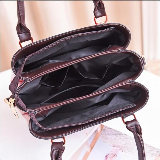 Butterfly Tassel Hanging Tote Shoulder Handbag - Brown  image