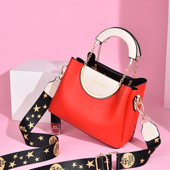 Chain Hand Straps Contrast Casual Bucket Handbag - Red |image