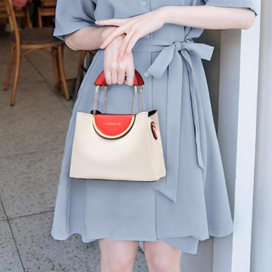 Chain Hand Straps Contrast Casual Bucket Handbag - Cream  image
