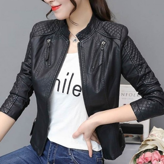 Checkered Pattern Body Fit Ladies Leather Jacket - Black |image