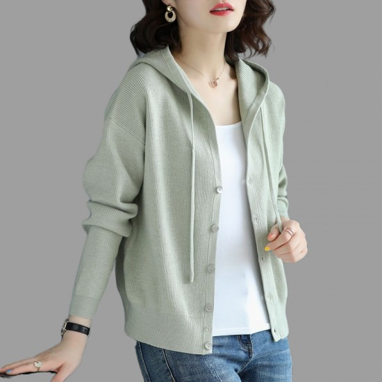 Long Sleeved Cardigan Hooded Sweater Jacket - Green |image