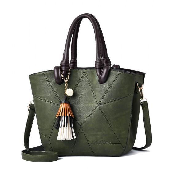 Patchwork Pattern Tassel Bucket Tote Shoulder Bag - Green |image