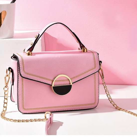 Clip Lock Closure Chain Strap Messenger Bag - Pink |image