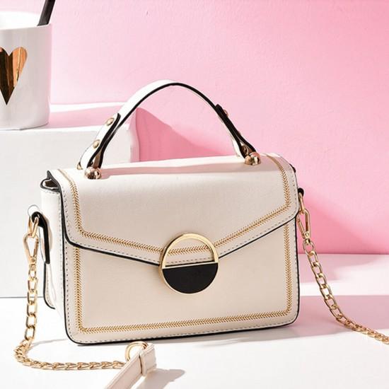 Clip Lock Closure Chain Strap Messenger Bag - Cream |image