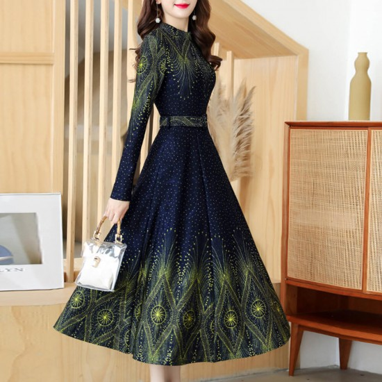 Buy Printed Design Long Sleeves With Belt Maxi Dress Blue Fashion Businessarcade Com
