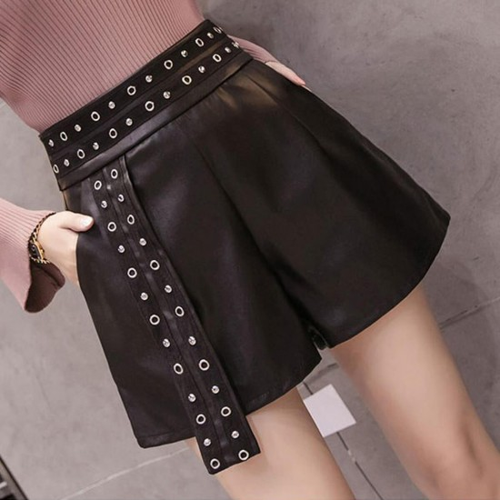 Wide Legged Button High Waist Casual Leather Pant Skirt - Black | Image