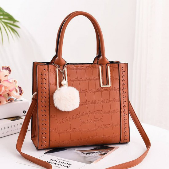Furry Hanging Large Capacity Shoulder Handbag - Brown |image