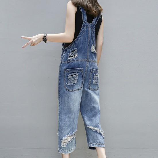 Casual Buckle Loose Denim Ripped Jumpsuit - Blue | Image