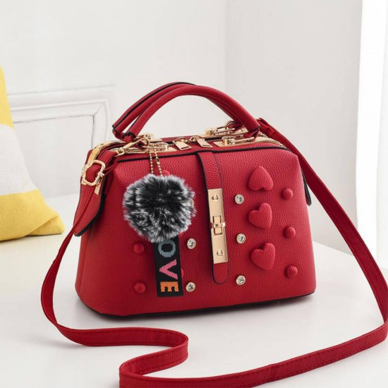 Buckle Design with Heart Patched Women Shoulder Bag - Red |image
