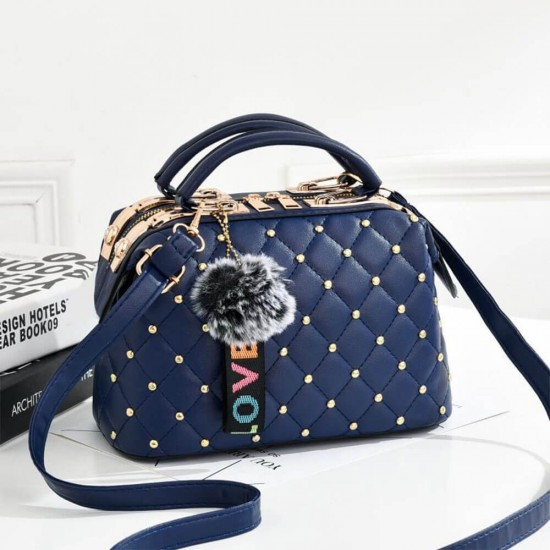 Rivets Decorated Hanging Hair Ball Square Shoulder Bag -Blue |image