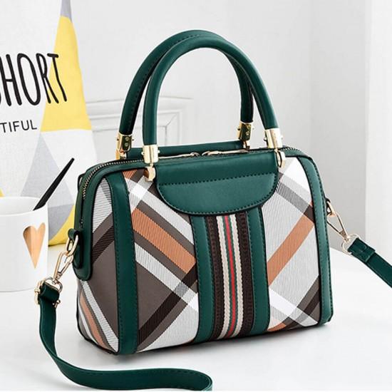 Checkered Contrast Straps Zipper Shoulder Bag - Green |image