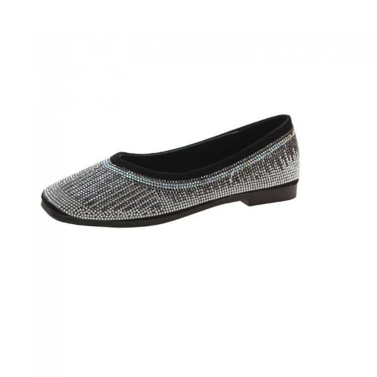 Low Heeled Suede Rhinestone Women Flats Shoes - Black |image