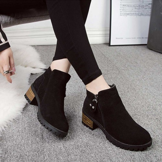 Frosted Velvet Thick Heel Women's Ankle Boots - Black  image