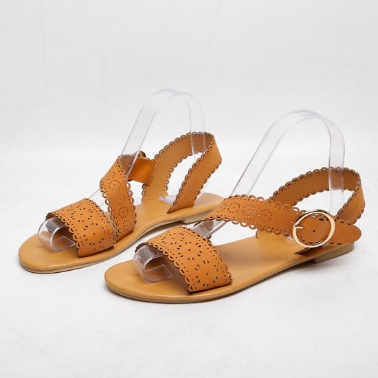 Open Toe Low-Heeled Casual Flat Sandals - Brown  image