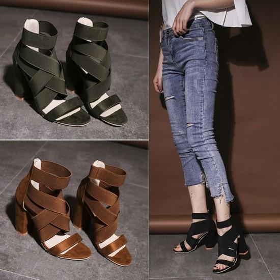 High Heels Cross Strap Open Toe Sandals - Brown |image