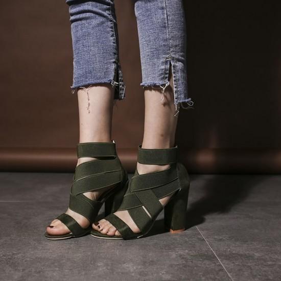 High Heels Cross Strap Open Toe Sandals - Green  image