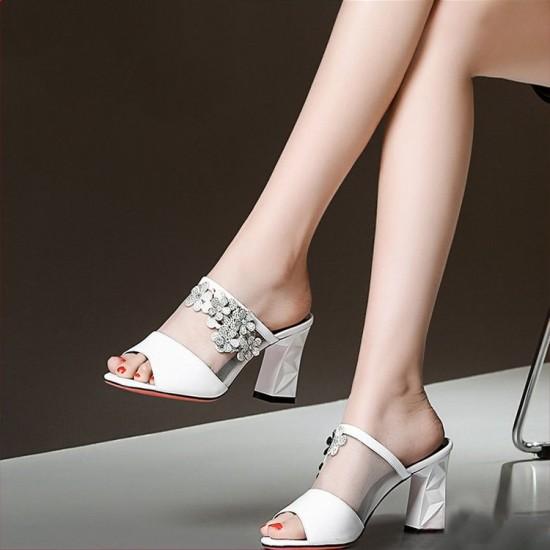 High Heel Embroidered Slide Sandals - White  image