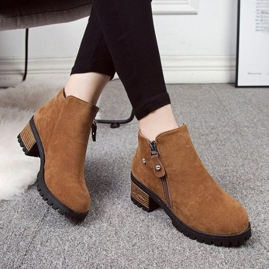 Frosted Velvet Thick Heel Women's Ankle Boots - Brown |image