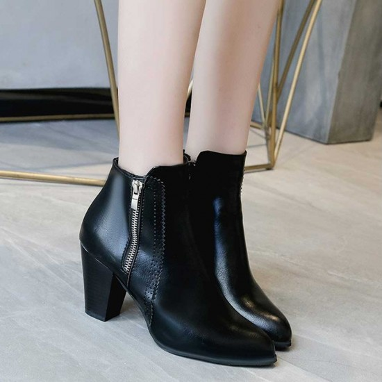High Heeled Pointed Leather Ankle Boots - Black |image