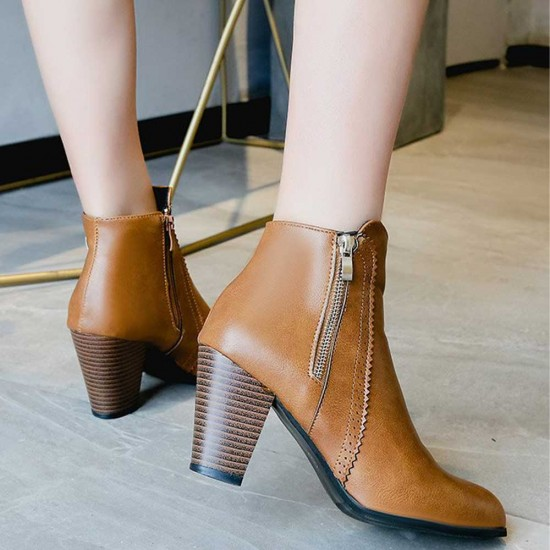 High Heeled Pointed Leather Ankle Boots - Brown |image
