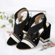 Cross Strap Thick High Heeled Sandals Shoes - Black |image