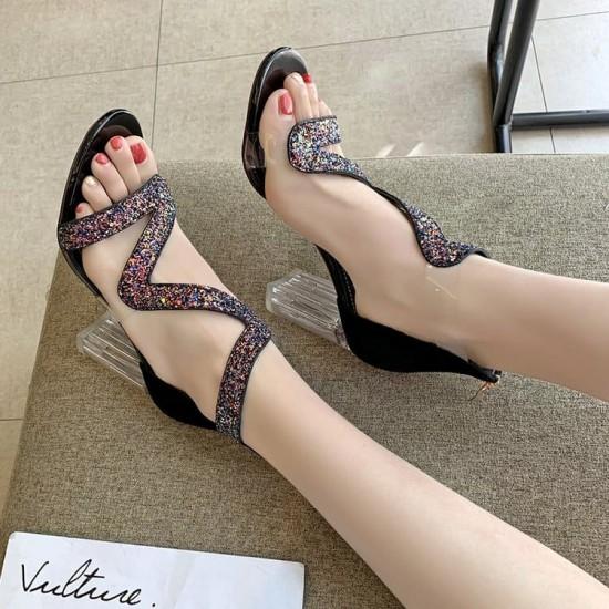 Open Toe High Heeled Zipper Party Sandals - Black |image