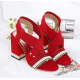 Cross Strap Thick High Heeled Sandals Shoes - Red