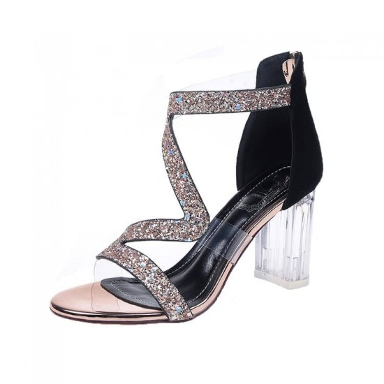 Open Toe High Heeled Zipper Party Sandals - Gold |image