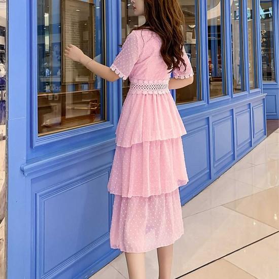 Multi-Layer Niche Fairy Sweet Chiffon Dress - Pink |image
