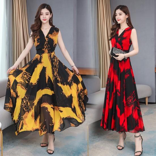Sleeveless Bohemia Chiffon Printed Dress - Red  image