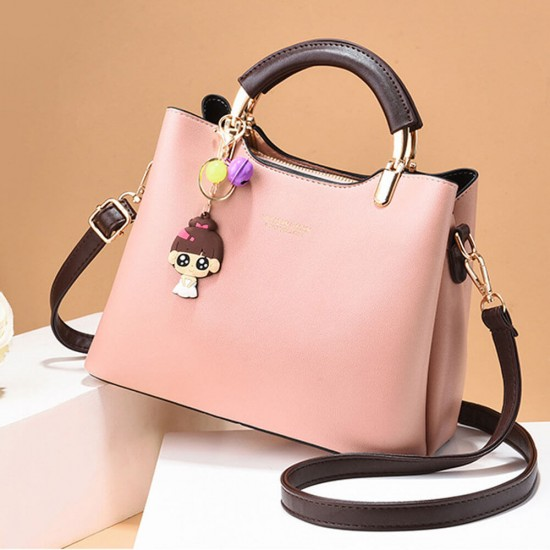 Women Solid Color With Lovely Doll Shoulder Bag - Pink |image