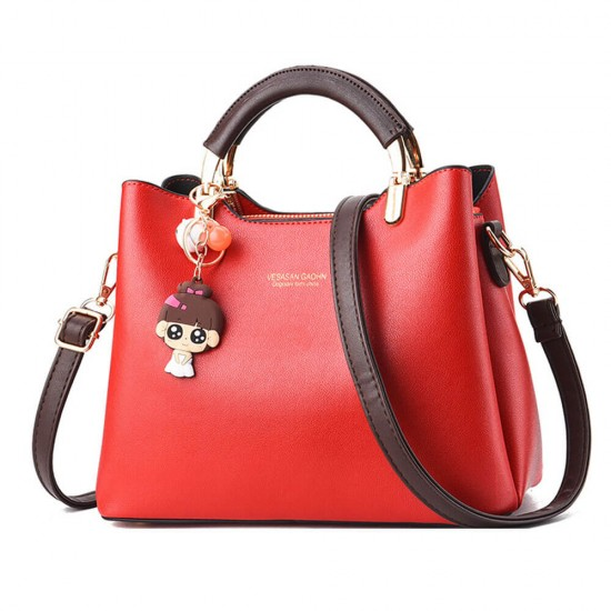 Women Solid Color With Lovely Doll Shoulder Bag - Red |image