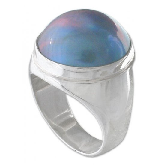 Blue Moon Sterling Silver and Pearl Domed Ring ANDR-55