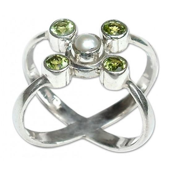 Peridot Orbits Artisan Crafted Peridot and Pearl Ring ANDR54