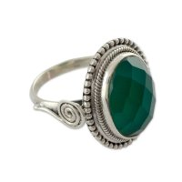 Green Magnificence Sterling Silver Cocktail Ring with Green Onyx ANDR63