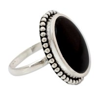 Mysterious Moon Women's Handcrafted Onyx Cocktail Ring from India ANDR61