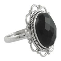 Midnight Blossom Onyx and Sterling Silver Flower Ring from India ANDR65