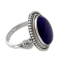 Royal Blue Glow Sterling Silver Cocktail Ring with Lapis Lazuli from India ANDR64