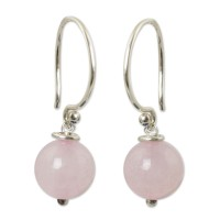 Handmade Rose Quartz and Sterling Silver Earrings ANDE-70