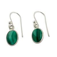 Silver and Malachite Earrings Crafted in India ANDE-68
