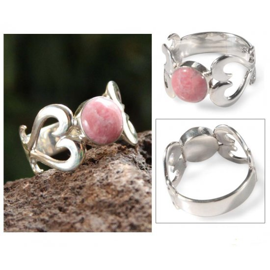 Handcrafted Heart Shaped Sterling Silver Rhodonite Ring ANDR-69