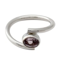 Sterling Silver and Amethyst Solitaire Ring from India ANDR-68