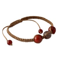 Smoky Quartz and Jasper Cotton Shamballa Bracelet FSB-30