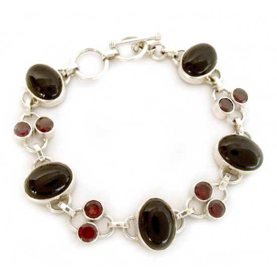Onyx and Garnet Bracelet from India Silver Jewelry FSB-26